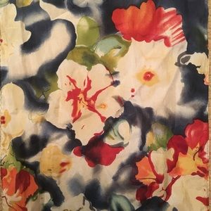 Accessories - Oblong Silk Floral Scarf